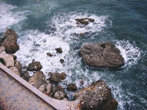 Nerja Sea Rocks Walking Spain Mediterranean Coast
