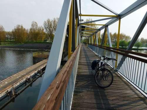 Netherlands Bridge Bicycle Autumn Fall River