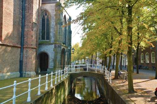 Netherlands Delft Canal Architecture Travel
