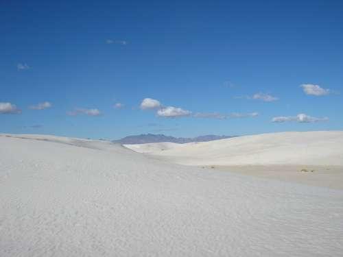 New Mexico White Sands Sand White Blue Sky Scenery