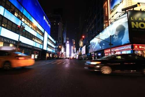 New York Street Taxi Manhattan City New York