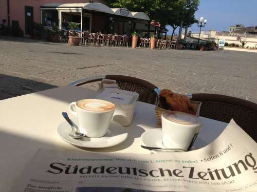 Newspaper Cafe Breakfast Cappuccino