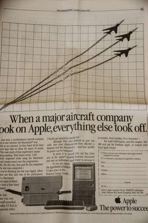 Newspaper Advert Advertisement Vintage Apple Brand