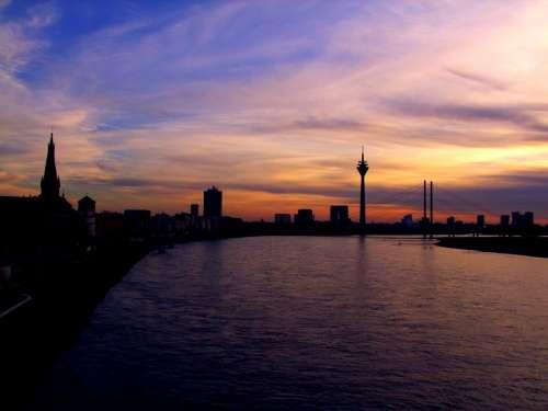 Niederrhein Evening Sunset Evening On The River
