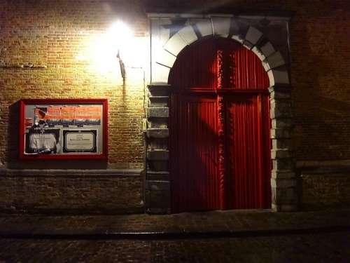 Night Light Illumination Red Gate Bruges