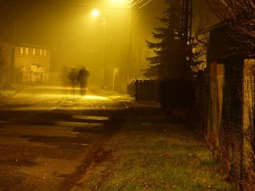 Night Street Lantern Memory Landscape Sadness