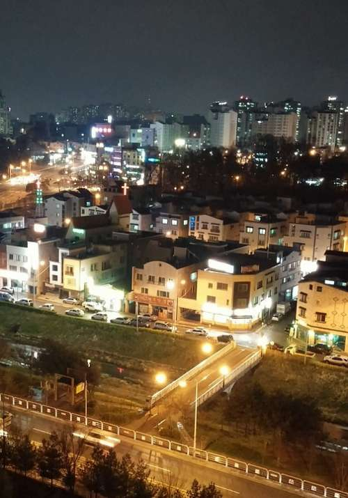 Night Street Landscape Republic Of Korea