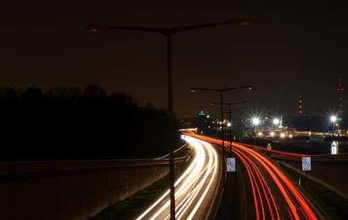 Night Night Active Highway Lights At Night Traffic