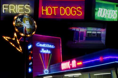 Night Neon Signs Hot Dogs Bistro Dining