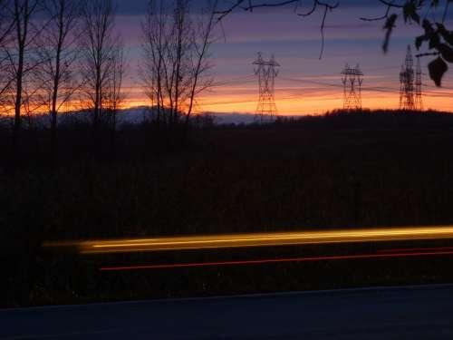 Night Movement Lighthouse Light Pylon Sunset Sky