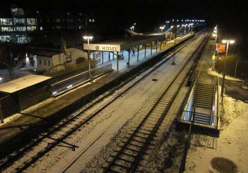 Night Evening Lights Lighting Railroad Tracks