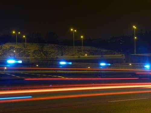 Night Evening Light Trails Road Highway Street
