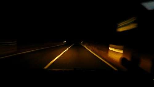 Night Ride Road Dark Evening Darkness Spotlight