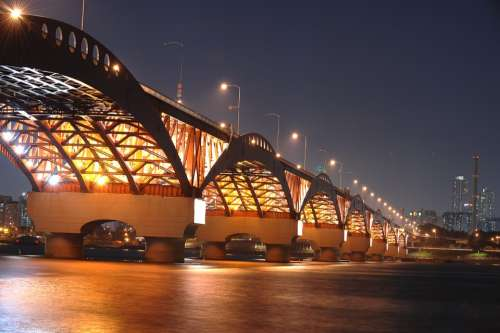 Night View Seongsan Bridge Bridge