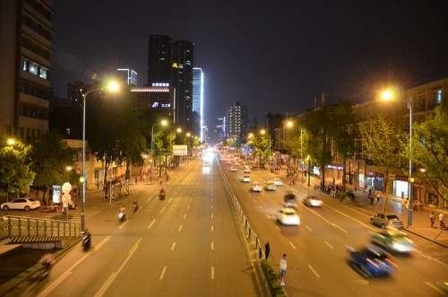 Night View City Downtown Light Rail