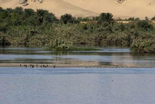 Nile Egypt Tranquil River Sand Dunes Landscape