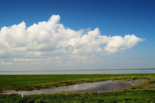 North Sea Sun Clouds Wide Landscape Nature