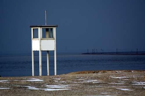 North Sea Watchtower Coast Sea Beach Wadden Sea