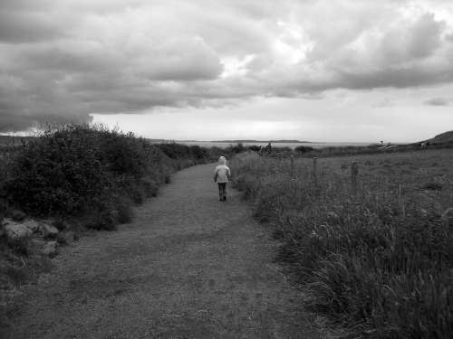 Northern Ireland County Antrim Girl Walking Path