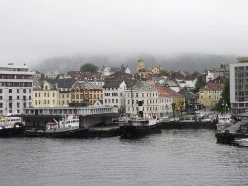 Norwegian Winter Fog City Port Harbor