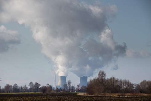 Nuclear Power Plant Grundremmingen Clouds Pollution