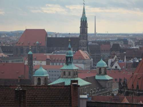 Nuremberg Outlook Roofs City View Historic Center