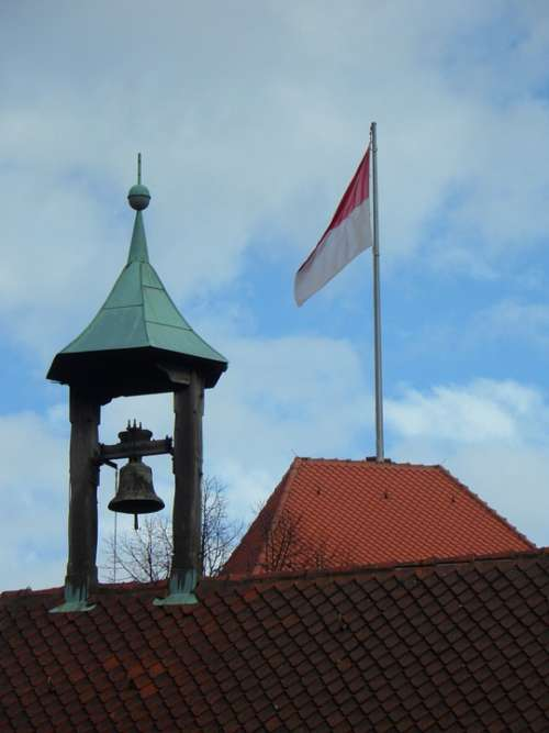 Nuremberg Imperial Castle Flag Roof Roofs Bell