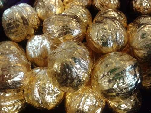 Nuts Walnuts Gold Gilded Golden Walnut Decoration