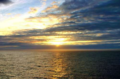 Ocean Horizon Sea Water Sunset