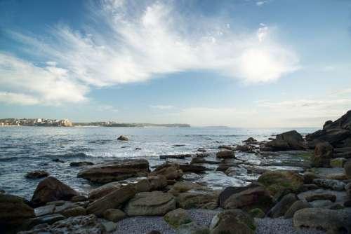 Ocean Rocks Clouds Manly Australia Beach Seascape
