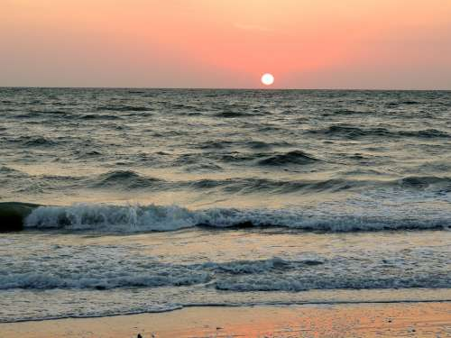 Ocean Sea Waves Beach Shore Sunset Sun Pink Sky