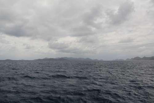Ocean Clouds Sea Overcast Grey Gray Water Sky