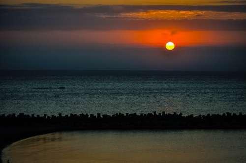 Ocean Coast Cloudscape Sunset Sky Nature Summer