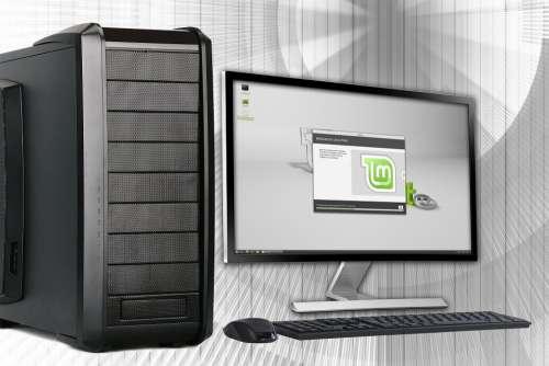 Office Pc Computer Desktop Linux Monitor Keyboard
