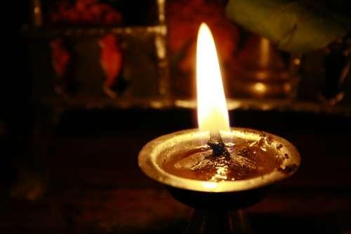 Oil Lamp Hindu Prayer Candlelight Burning Flame