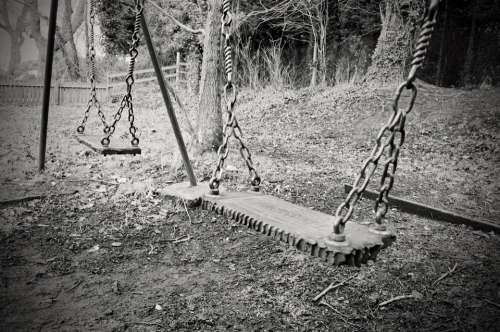 Old Swing Swings Abandoned Child Macro Chains