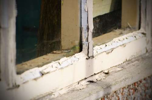 Old Window Glass Outdoor Dirty White Building