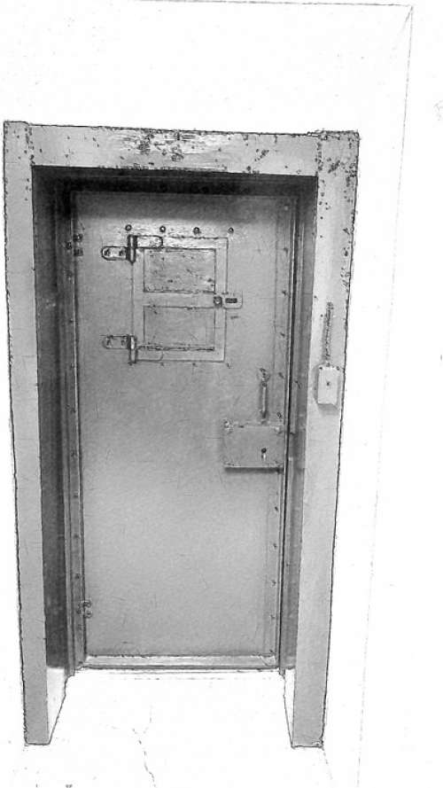 Old Jail Black White Metallic Door Doorway
