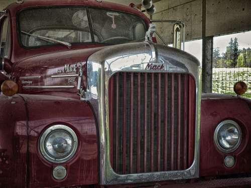 Old Logging Truck Red Transportation Vehicle Truck