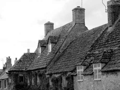 Old Village Houses Roof Corfe Stone Medieval