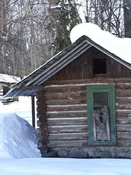 Old Log Cabin Vintage Ancient Building Ranch