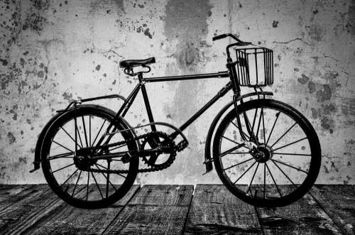 Old Bike Street White Brown Black Classic