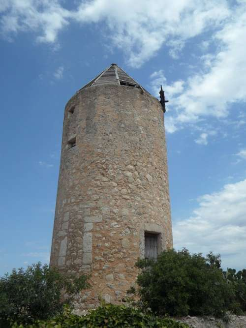Old Old Mill Windmill Landmark Mallorca