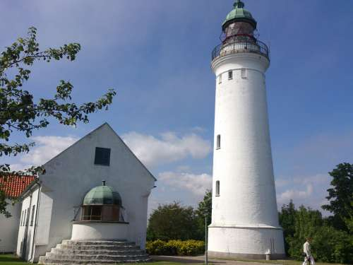 Old Lighthouse Building White Denmark Tourism