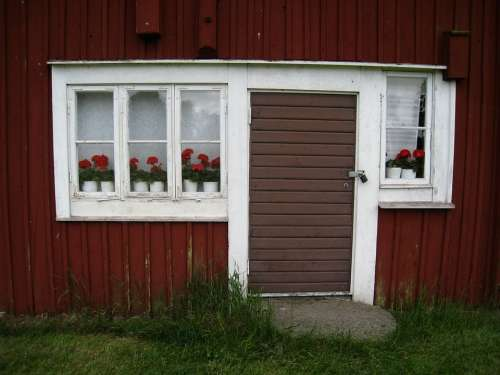 Old House Red Window Flowers Geraniums Door