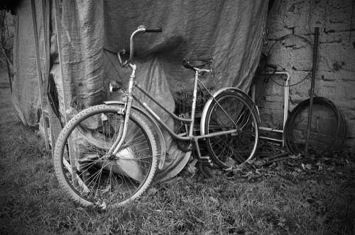 Old Bicycle Black White Heritage History Village