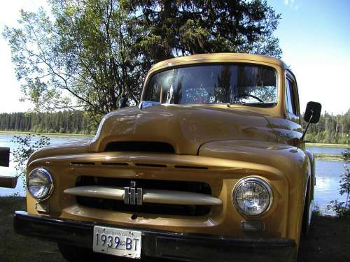 Old Timer Yellow Car Truck Restoration Automobile
