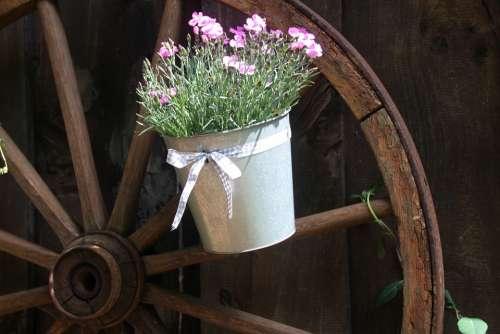 Old Wagon Wheel Wooden Wheel Flower