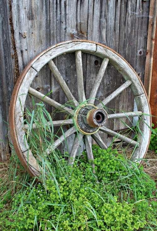 Old Wagon Wheel Wooden Wheel Wood Nostalgia