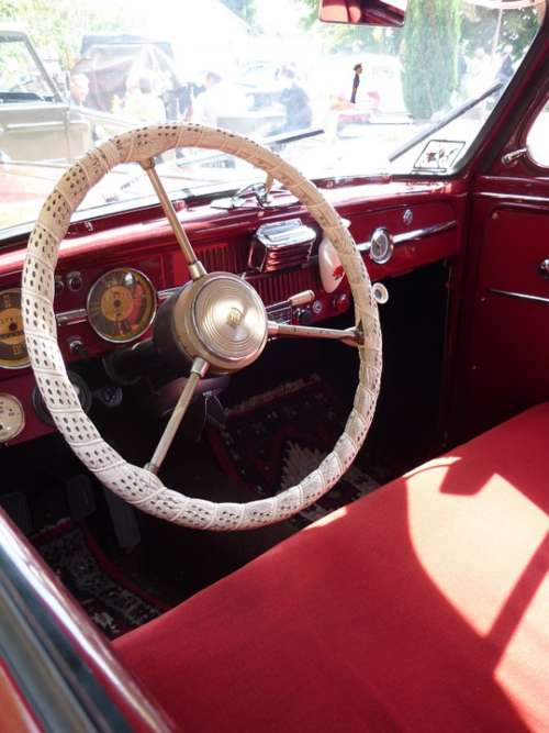 Oldtimer Steering Wheel Auto Red Car Seats Speedo